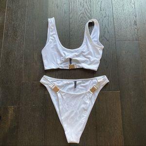 Jess Hunt x PLT White Bikini with Gold Buckles